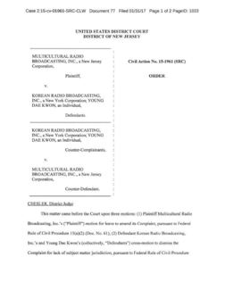 Law Offices of Geoffrey D Mueller Helps Secure Dismissal of Multi-Million Dollar Breach of Contract Claim - Multicultural Radio Broad Inc v Korean Radio Broad Inc Case No 215-cv-01961